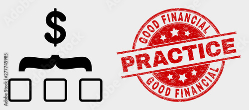 Photo Vector dollar aggregation pictogram and Good Financial Practice seal stamp