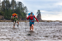 Hikers Crossing Ozette River I...