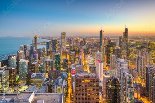 Fotografie, Tablou  Chicago, Illinois USA aerial skyline