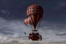 Hot Air Balloon Flying At Night