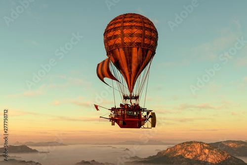 hot air balloon flying on summer morning Canvas