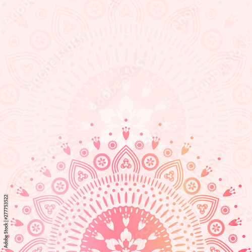 Poster de jardin Style Boho Summer flower mandala illustration with place for text. Colorful vector template