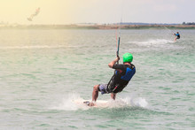 Kitesurfing Kiteboarding Action Photos Man Among Waves Quickly Goes. Copy Space