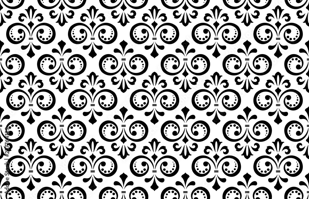 Floral pattern. Vintage wallpaper in the Baroque style. Seamless vector background. White and black ornament for fabric, wallpaper, packaging. Ornate Damask flower ornament