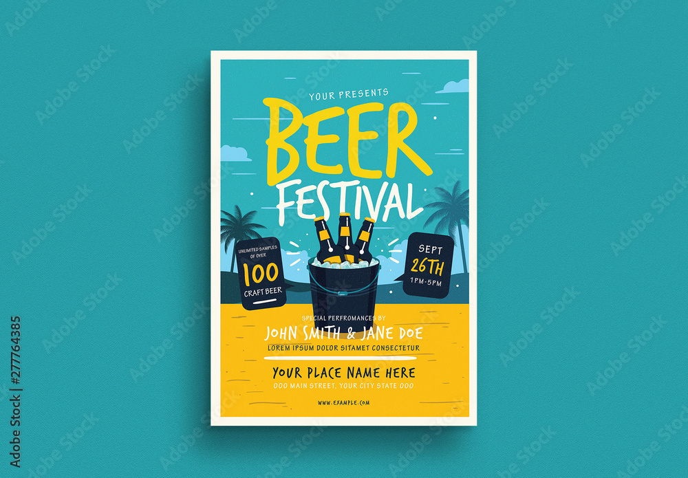 Fototapety, obrazy: Summer Beer Festival Flyer Layout with Graphic Elements