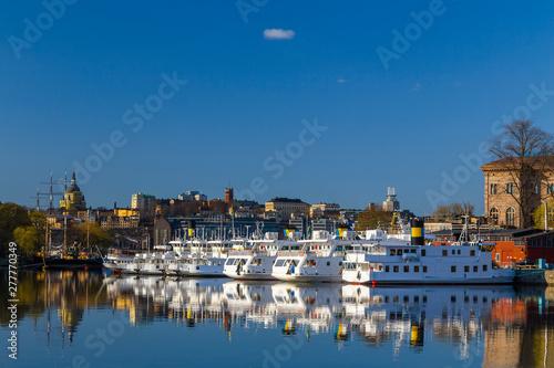 Foto auf Leinwand Stockholm Morning landscape on the lake Malaren