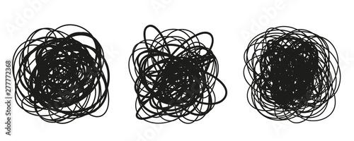 Obraz na plátně Hand drawn hatching shapes on isolated white background