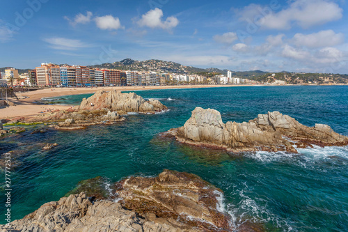 Photo Stands Cyprus General view of Lloret de Mar and beach, Costa Brava, Catalonia, Spain.