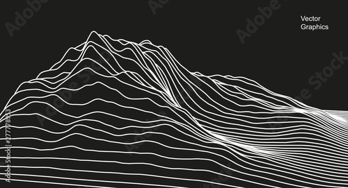 Photo Stands Abstract wave Digital surface made of lines. Abstract technology illustration. - Vector