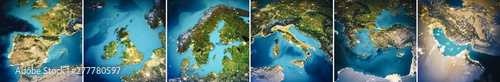 Planet Earth Europe map set Fototapete