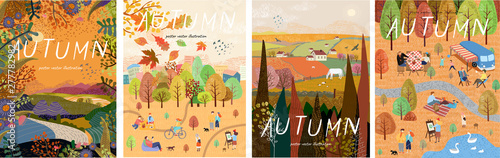 Fototapeta Autumn nature. Cute vector illustration of landscape natural background, village, people on vacation in the park at a picnic, forest and trees. Drawings from the hand  obraz