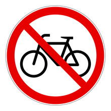 Red Bicycle Forbidden Vector S...