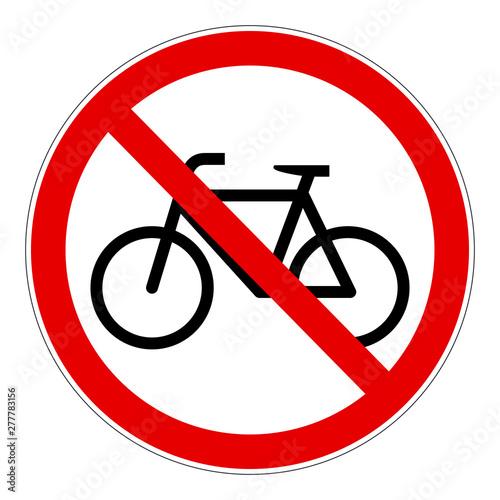 Fotografie, Obraz Red bicycle forbidden vector sign