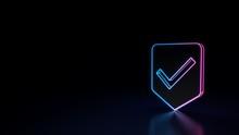 3d Glowing Neon Symbol Of Symb...