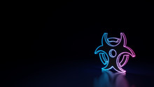 3d Glowing Neon Symbol Of Symbol Of Biohazard Isolated On Black Background
