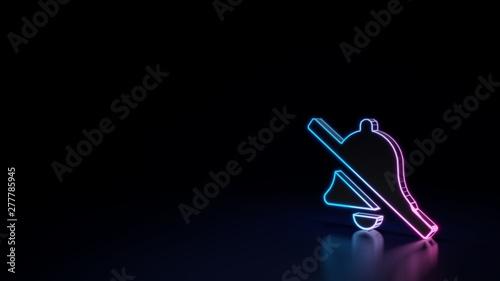 Fotografie, Obraz  3d glowing neon symbol of symbol of bell slash isolated on black background
