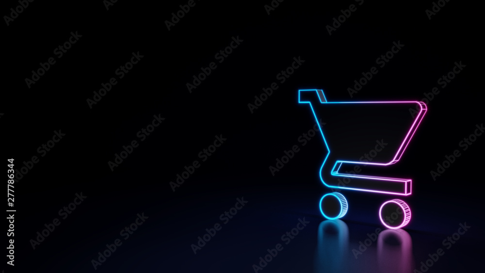Fotografia 3d glowing neon symbol of symbol of cart isolated on black background
