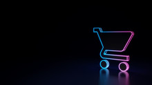 3d Glowing Neon Symbol Of Symbol Of Cart Isolated On Black Background