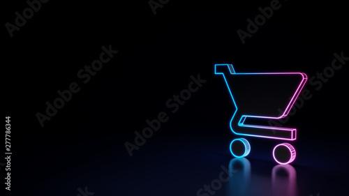 Billede på lærred 3d glowing neon symbol of symbol of cart isolated on black background