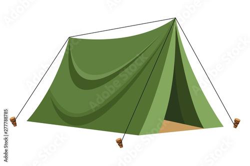 Obraz na plátně Camping travel tent equipment cartoon