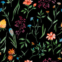 Panel Szklany Na stół i biurko Different flowers watercolor painting - hand drawn seamless pattern with blossom on black background