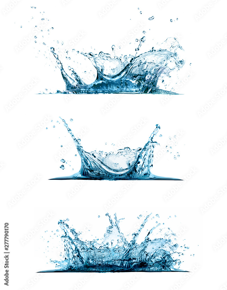 Fototapety, obrazy: Water splash set isolated on white background