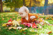 Girl sitting on the grass and playing with colorful autumn leaves
