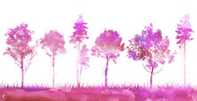 Background Pink And Purple Trees Silhouettes. Vector Illustration