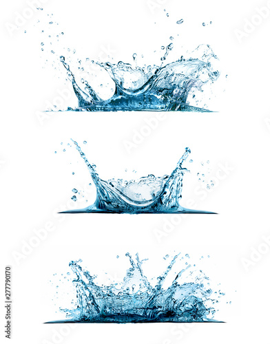 Water splash set isolated on white background Wall mural