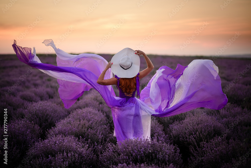 Fototapety, obrazy: Young woman in luxurious purple dress standing in lavender field, rear view