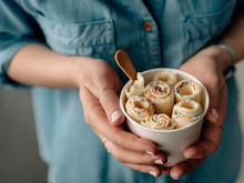 Rolled Ice Cream In Cone Cup I...