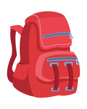 School Backpack Education Cartoon Isolated