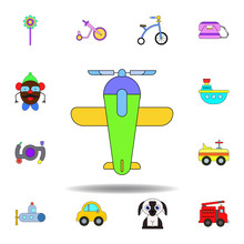 Cartoon Plane Toy Colored Icon. Set Of Children Toys Illustration Icons. Signs, Symbols Can Be Used For Web, Logo, Mobile App, UI, UX