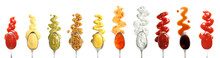 Set Of Spoons With Different Delicious Sauces On White Background, Top View