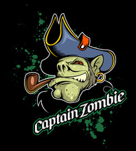 Cartoon Style Captain Zombie With The Smoking Pipe, Earring And Pirate Hat.