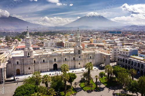 Fotografering Aerial drone view of Arequipa main square and cathedral church, with the Misti volcano as background