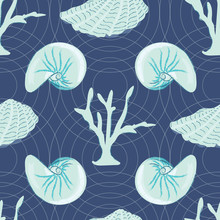 Seashell And Coral Seamless Pattern In Coastal Colors Of Turquoise And Navy Blue. Light Concentric Circles Background Texture. Great For Textiles, Paper, Home Decor, Stationery Goods And Home Decor.