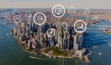 Fototapeta Nowy Jork - Stock trading concept with aerial view of Manhattan, NY skyline