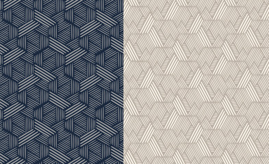 Set of seamless patterns. Abstract geometric background vector