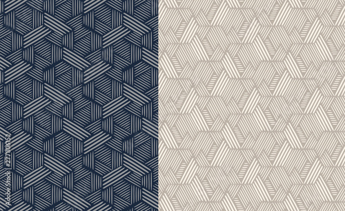 Türaufkleber Künstlich Set of seamless patterns. Abstract geometric background vector