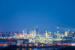 night view of petrochemical plant