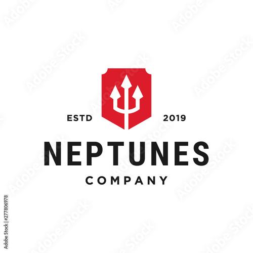 Valokuva neptune trident concept vector logo design