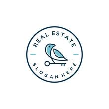 Real Estate / Bird House Key Vector Icon Logo Design
