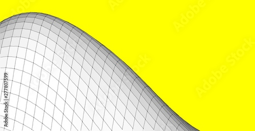 Türaufkleber Gelb Abstract wireframe background. 3D grid illustration landscape. Terrain in the Mountains with valleys.