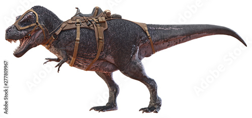 Pinturas sobre lienzo  3D rendering of Tyrannosaurus Rex with a saddle.