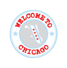 Vector Stamp Of Welcome To Chicago With City Flag On Map Outline In The Center.