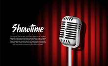3D Realistic Standing Vintage Microphone Illustration With Red Curtain With Vignette Light Show Stage