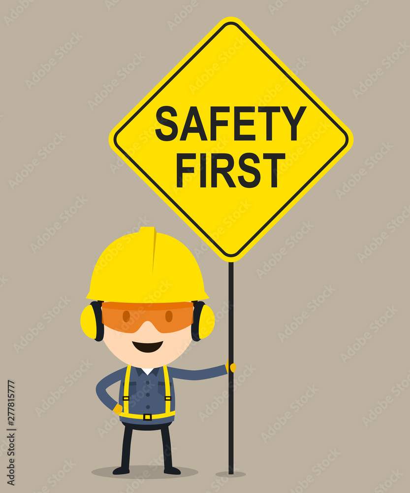 Fototapeta Worker holding safety first sign, Vector illustration, Safety and accident, Industrial safety cartoon