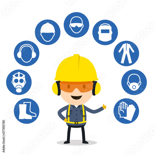 Fototapeta Personal protective equipment and safety icons, Vector illustration, Safety and
