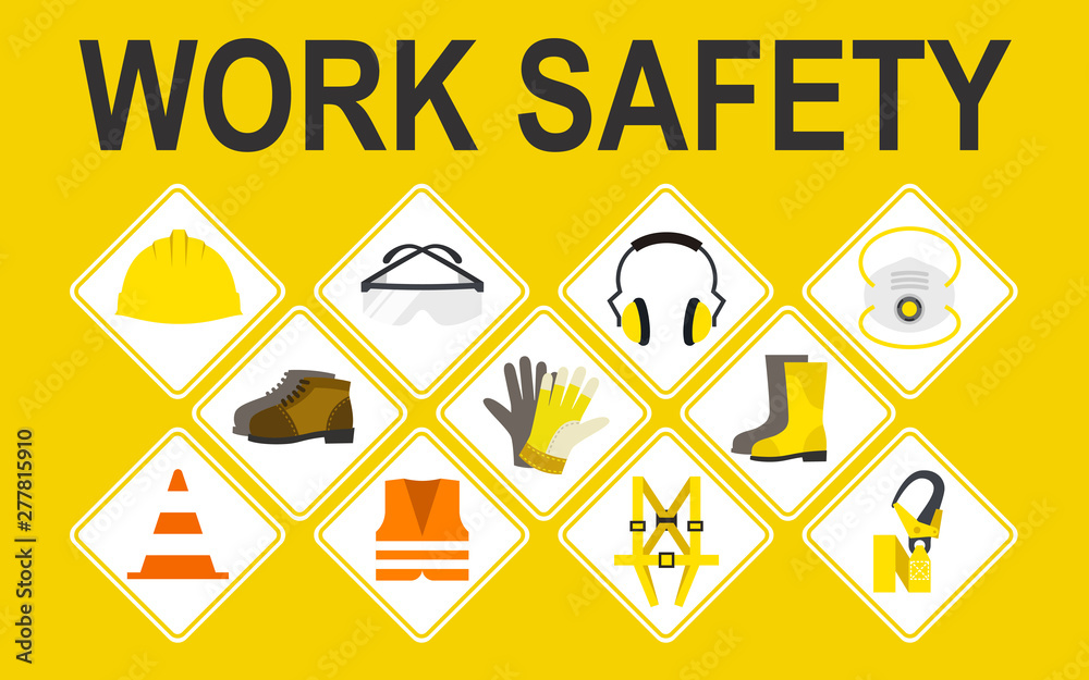 Fototapety, obrazy: Work safety vector icons set, Vector illustration, Safety and accident, Industrial safety cartoon